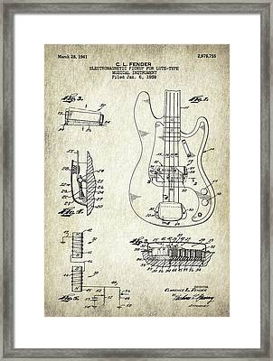 Patent Drawing For The 1959 Electromagnetic Pickup For Lute Type Musical Instrument By C. L. Fender Framed Print by Jose Elias - Sofia Pereira