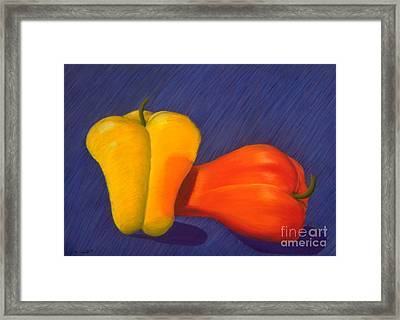 2 Peppers Framed Print by Mary Erbert