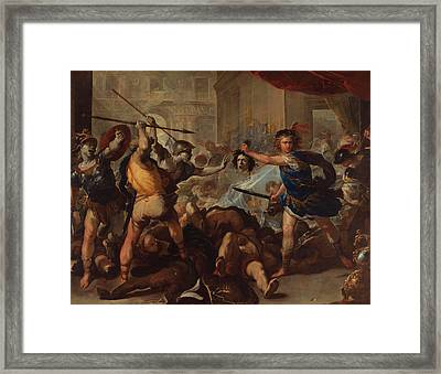 Perseus Turning Phineas And His Followers To Stone Framed Print