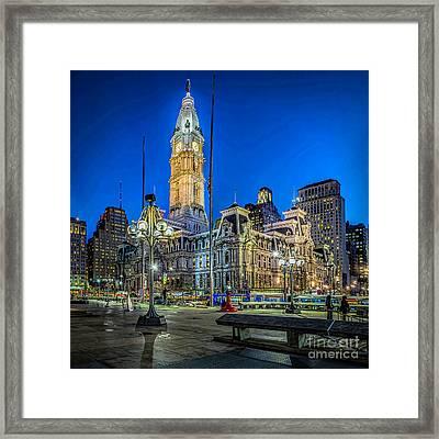 Philly City Hall At Night Framed Print