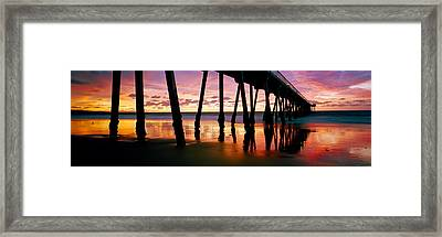 Pier In The Pacific Ocean, Hermosa Framed Print by Panoramic Images