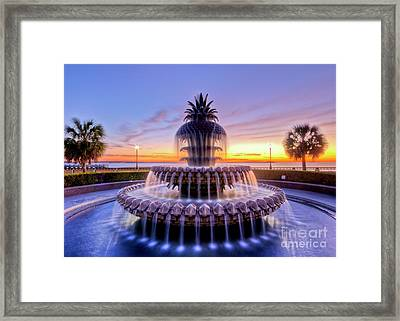 Pineapple Fountain Charleston Sc Sunrise Framed Print