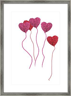 Pink Roses In Heart Shape Balloons  Framed Print by Michael Ledray