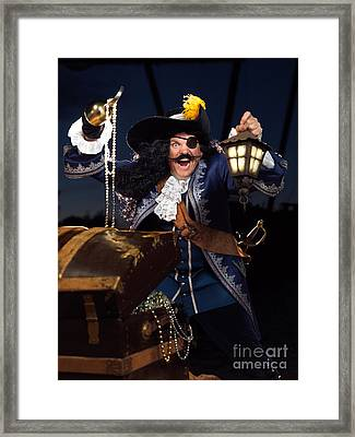 Pirate With A Treasure Chest Framed Print by Oleksiy Maksymenko