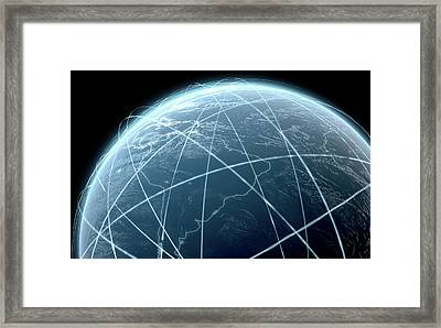 Planet With Illuminated Light Trails Framed Print