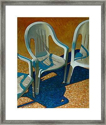 Plastic Patio Chairs Framed Print by Doug Strickland