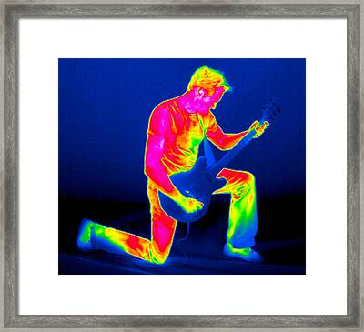 Playing Guitar, Thermogram Framed Print by Tony Mcconnell