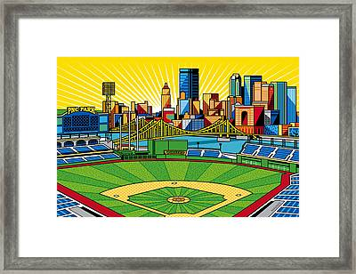Pnc Park Gold Sky Framed Print by Ron Magnes