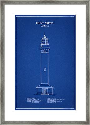 Point Arena Lighthouse - California - Blueprint Drawing Framed Print