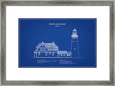 Portland Head Lighthouse - Maine - Blueprint Drawing Framed Print