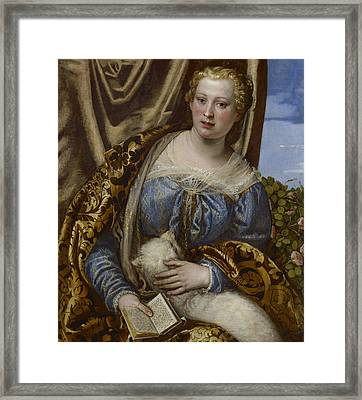 Portrait Of A Lady As Saint Agnes  Framed Print by Paolo Veronese