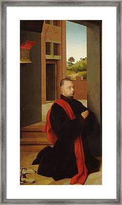 Portrait Of A Male Donor Framed Print by Petrus Christus