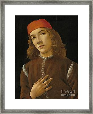 Portrait Of A Youth Framed Print by Sandro Botticelli