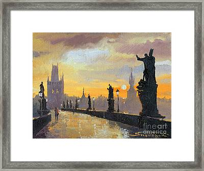 Prague Charles Bridge 01 Framed Print