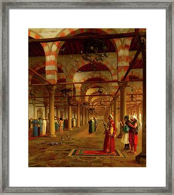 Framed Print featuring the painting Prayer In The Mosque by Jean-Leon Gerome