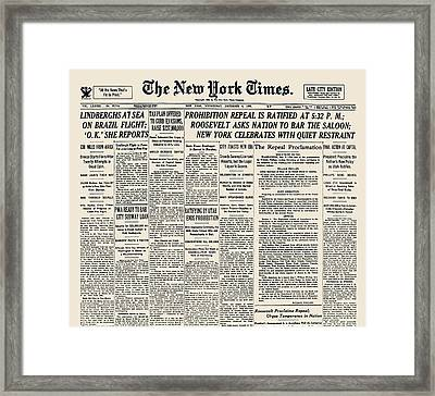 Prohibition Repeal, 1933 Framed Print
