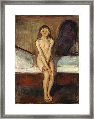 Puberty Framed Print by Edvard Munch