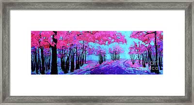 Purple Magenta, Forest, Modern Impressionist, Palette Knife Painting Framed Print
