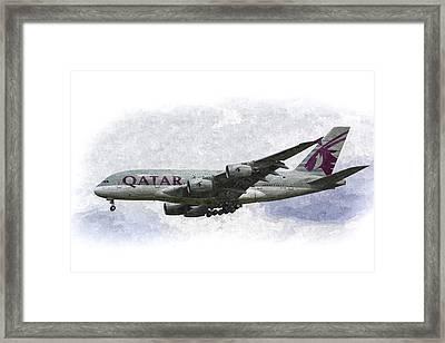 Qatar Airlines Airbus Art Framed Print