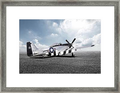 Framed Print featuring the digital art Quick Silver P-51 by Peter Chilelli