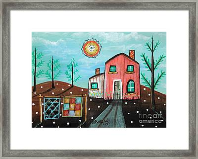 2 Quilts Framed Print