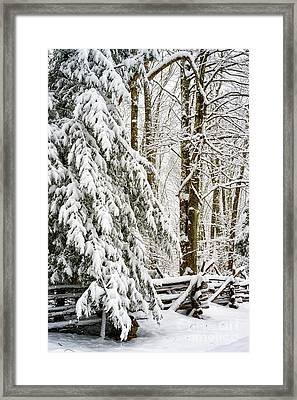 Framed Print featuring the photograph Rail Fence And Snow by Thomas R Fletcher