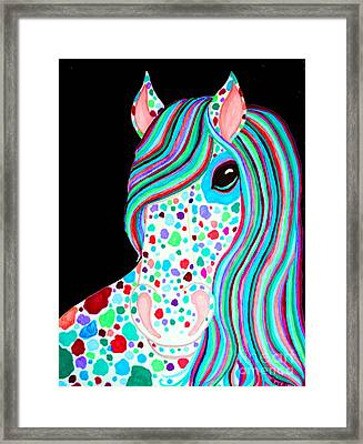 Rainbow Spotted Horse Framed Print by Nick Gustafson