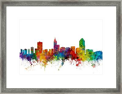 Raleigh North Carolina Skyline Framed Print by Michael Tompsett