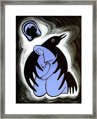 Raven Holds Me When I Weep Framed Print by Angela Treat Lyon