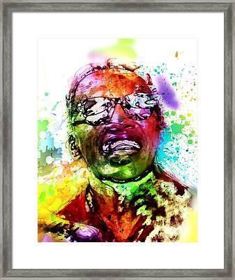 Ray Charles Framed Print by Elena Kosvincheva