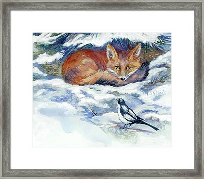 Red Fox With Magpie Framed Print
