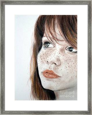 Framed Print featuring the pastel Red Hair And Freckled Beauty by Jim Fitzpatrick
