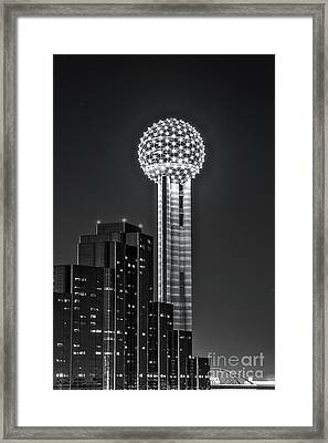 Reunion Tower In Black And White Framed Print by Tod and Cynthia Grubbs