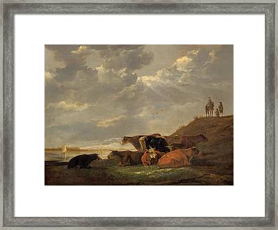 River Landscape With Cows Framed Print by Aelbert Cuyp