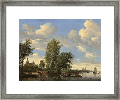 River Landscape With Ferry Framed Print by Salomon Van Ruysdael