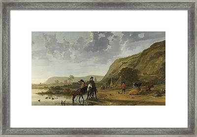 River Landscape With Riders Framed Print by Aelbert Cuyp