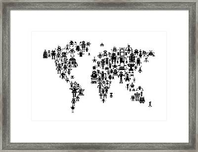 Robot Map Of The World Map Framed Print by Michael Tompsett