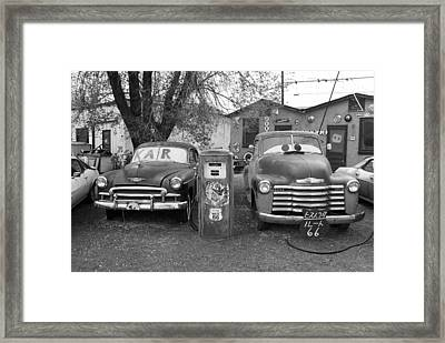 Route 66 - Snow Cap Drive-in Framed Print by Frank Romeo