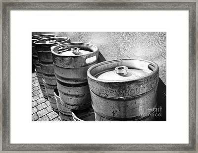Row Of Guinness Stout Barrels Outside A Pub Sligo Republic Of Ireland Framed Print by Joe Fox
