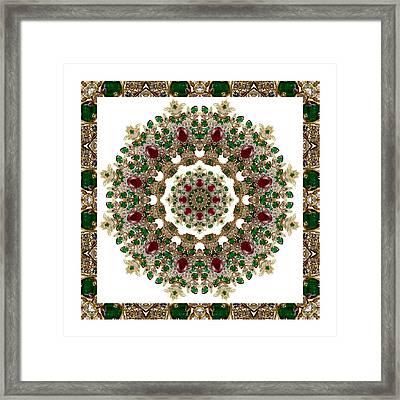 Ruby And Emerald Kaleidoscope Framed Print