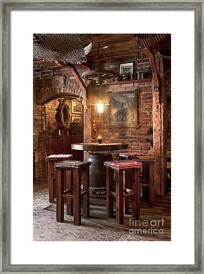 Rustic Restaurant Seating Framed Print