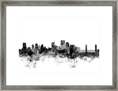 Sacramento California Skyline Framed Print by Michael Tompsett