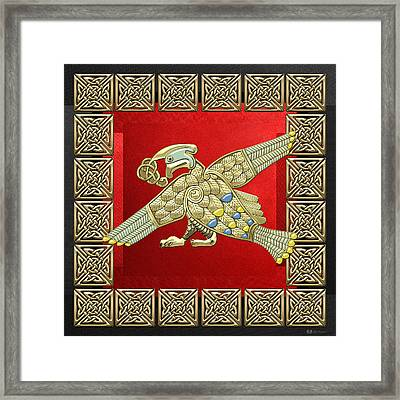 Sacred Celtic Bird On Red And Black Framed Print