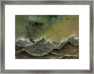 Sail Ship Watercolor Framed Print by Juan  Bosco