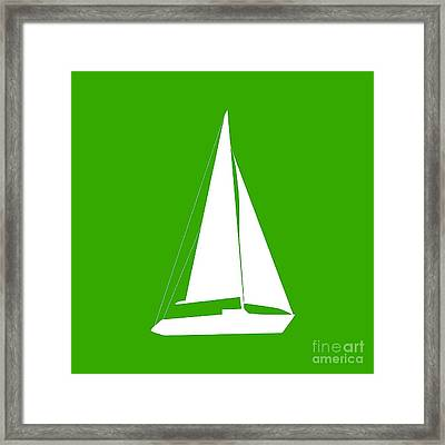 Sailboat In Green And White Framed Print