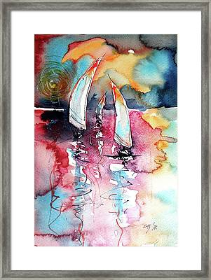 Framed Print featuring the painting Sailboats by Kovacs Anna Brigitta