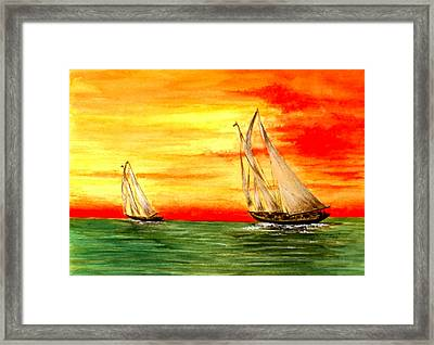 2 Sailboats Framed Print by Michael Vigliotti
