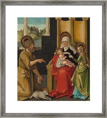 Saint Anne With The Christ Child, The Virgin, And Saint John The Baptist Framed Print by Hans Baldung Grien