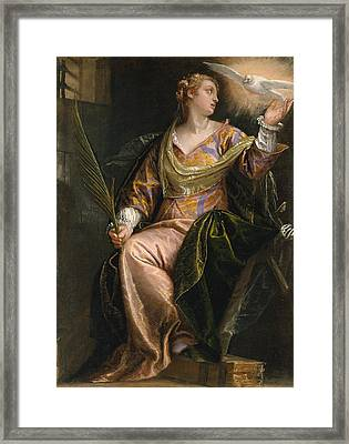 Saint Catherine Of Alexandria In Prison Framed Print by Paolo Veronese