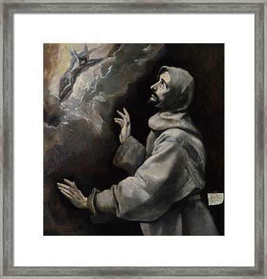 Saint Francis Receiving The Stigmata Framed Print by El Greco